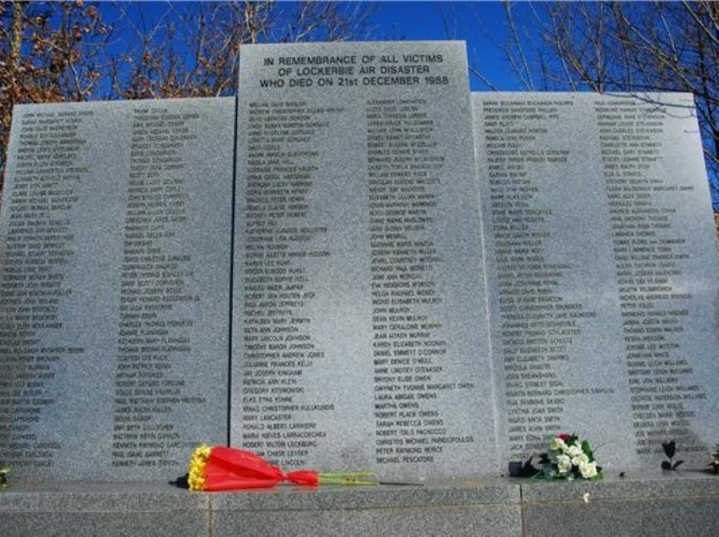 Lockerbie memorial listing the 270 dead - many of whom are American