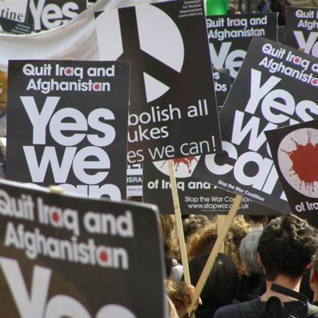 Marching ban? Opponents warned that a ban could soon be used against legitimate protests