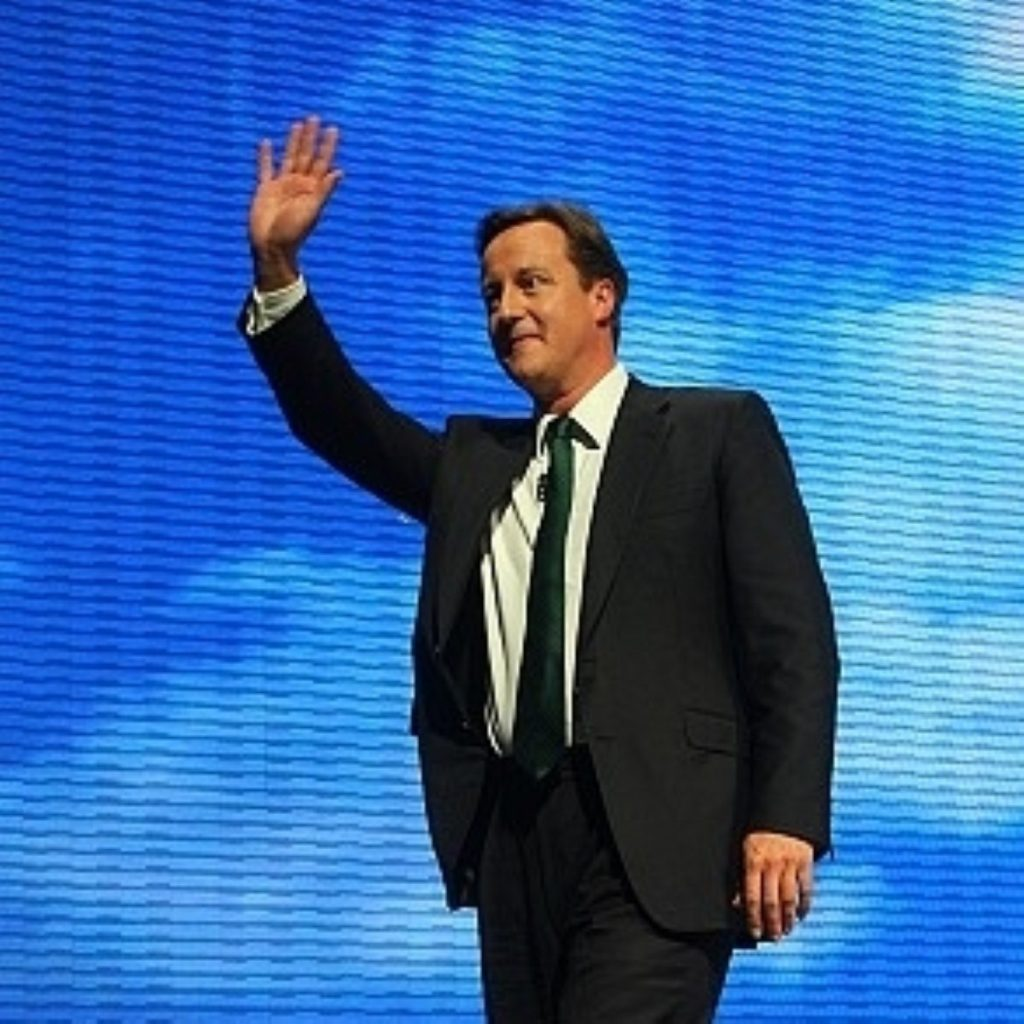 Cameron during the party conference. The event was nearly derailed by Lisbon speculation