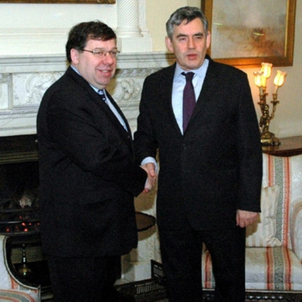 Gordon Brown meets with Brian Cowen in Downing Street