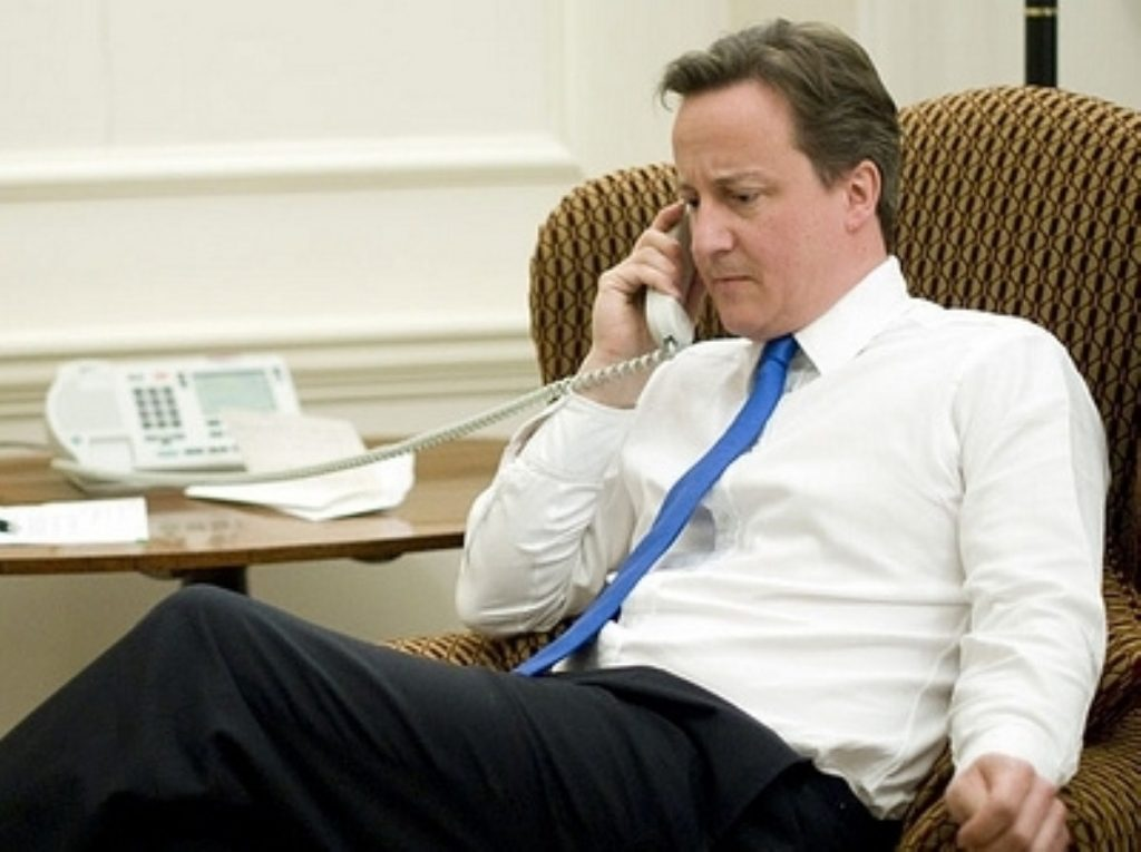 Cameron takes a call from Obama not long after becoming prime minister. According to reports, he is now less attentive.