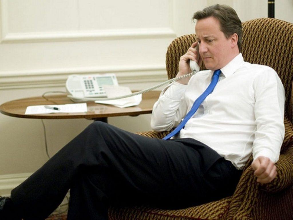 David Cameron on the phone to Barack
