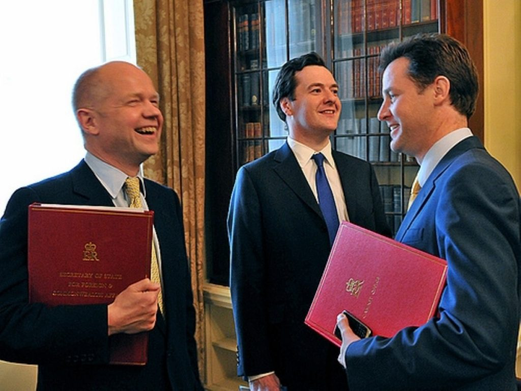 William Hague (l) and Nick Clegg will share Chevening - but George Osborne (centre) gets Dorneywood to himself