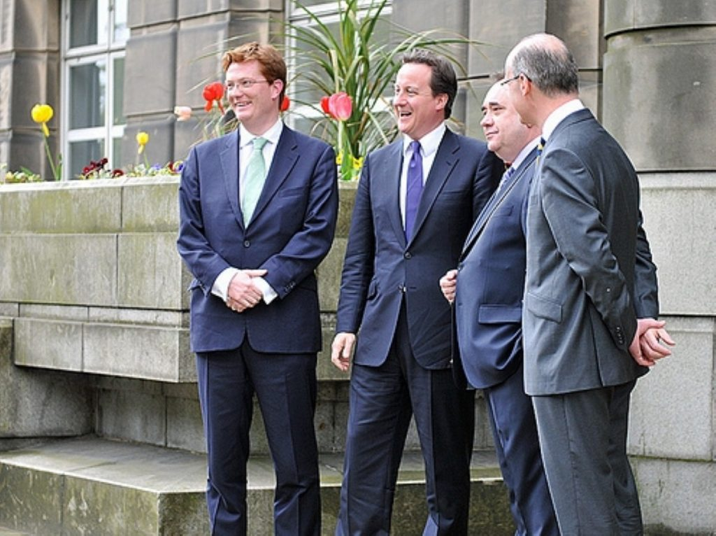 Scottish secretary Danny Alexander, David Cameron, Alex Salmond and Scottish finance secretary John Swinney