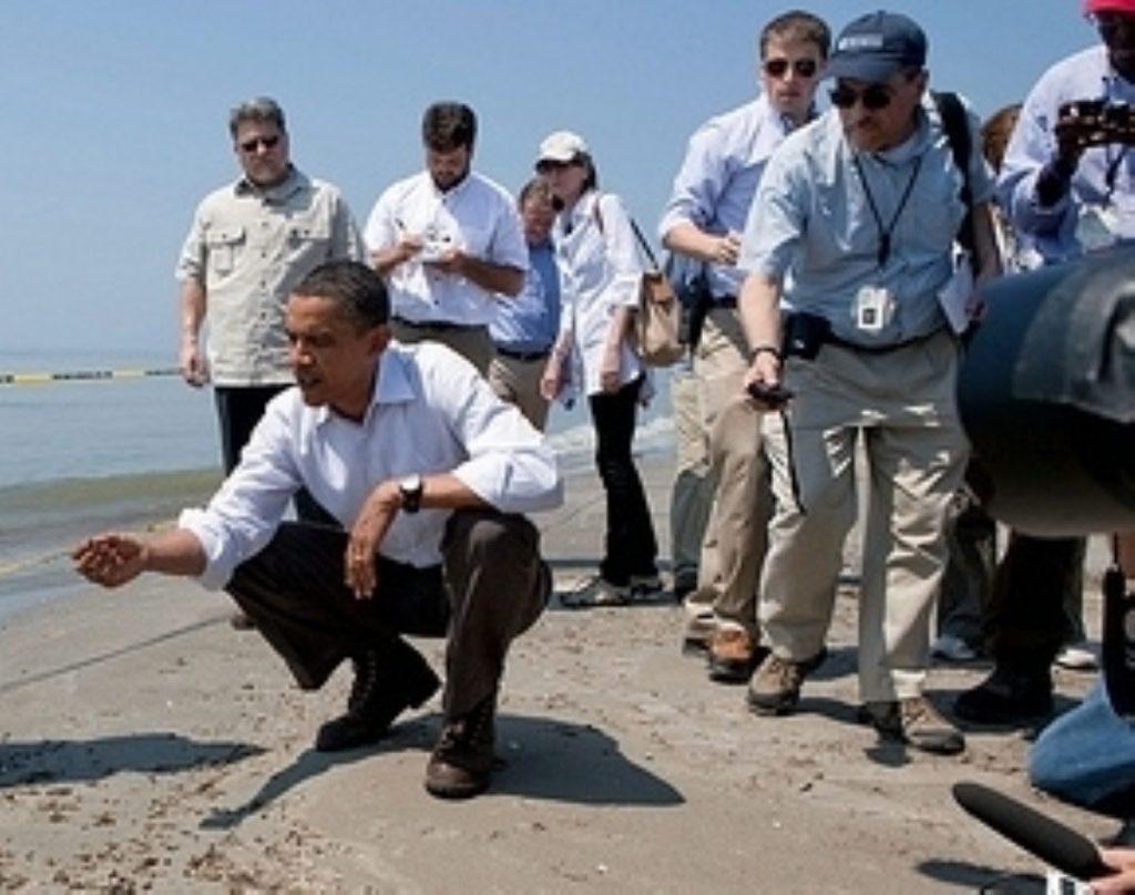 US president Barack Obama visiting the spill.