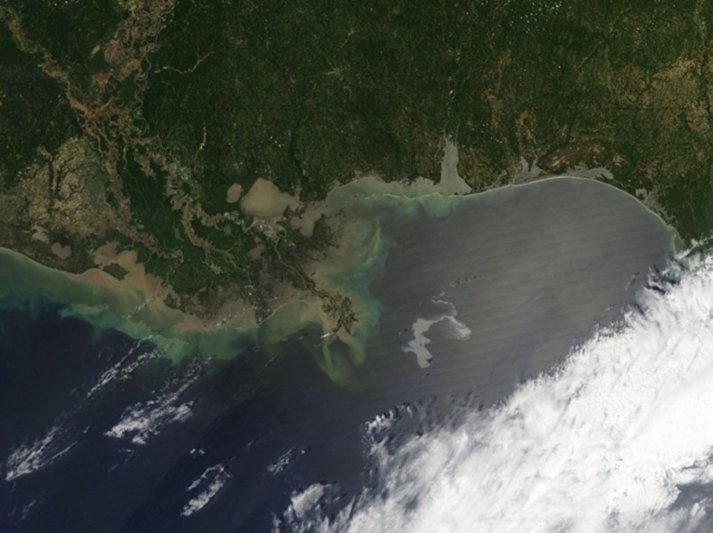 A Nasa image of the oil spill in the Gulf of Mexico