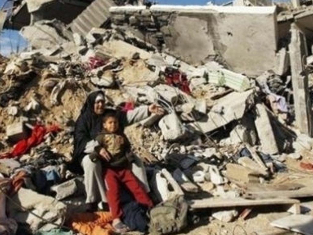 Rubble meets Gazans following an Iasraeli bom bing raid. The import of construction materials had previously been banned as part of the blockade, meaning many residents could not rebuild their homes.