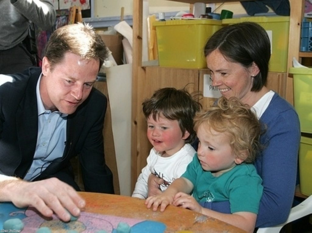 """Nick Clegg says he is """"passionate"""" about childcare"""