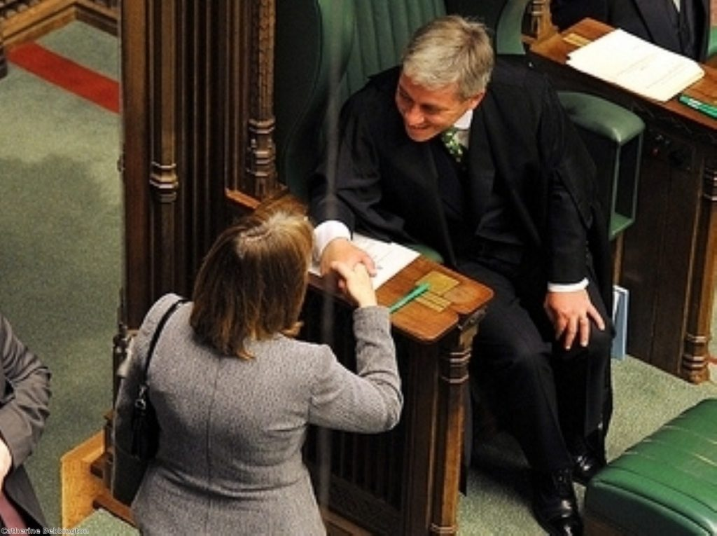 Bercow enjoys a polite moment with Harriet Harman at the end of the last parliamentary session