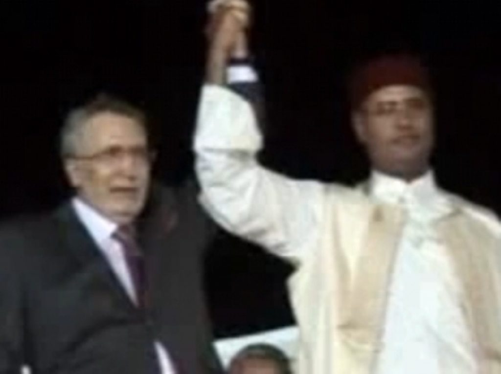 Megrahi (l) with Libyan leader Mu'ammar Gadaffi