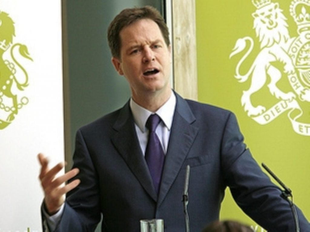 Clegg is struggling to get his constitutional reform agenda through the Commons