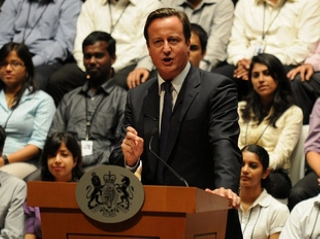 David Cameron addresses an audience in Bangalore