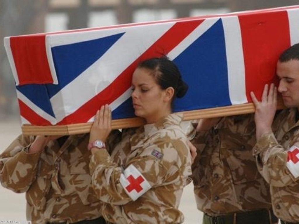The coffin of British personnel return from Iraq. IBC says the Inquiry has acted as if the war happened in britain.