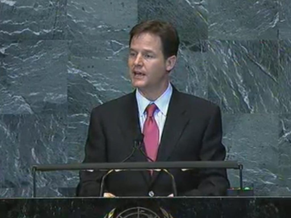 Clegg speaks at the UN
