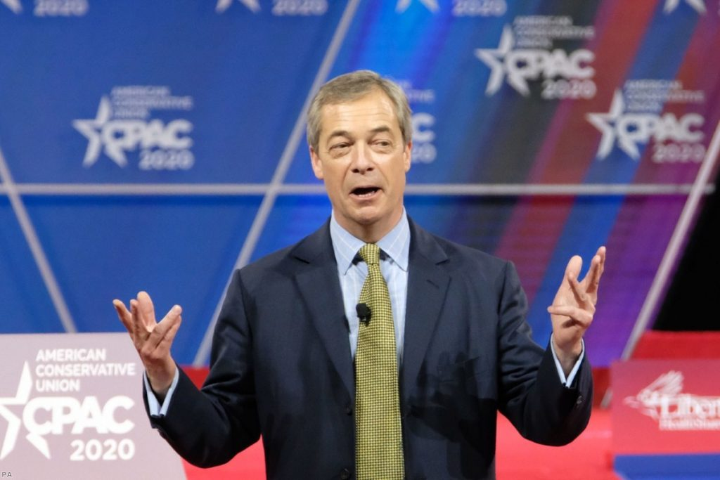 Farage at the Conservative Political Action Conference in Maryland, US. The former MEP acts as a transmission agent for nationalism.
