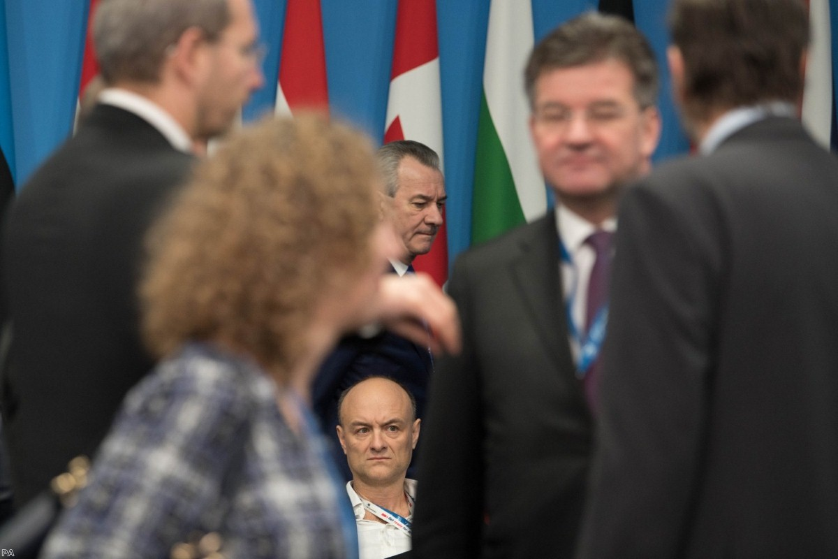 Dominic Cummings sits during the annual Nato heads of government summit last year. His tribal approach to politics is causing extensive damage to No.10.