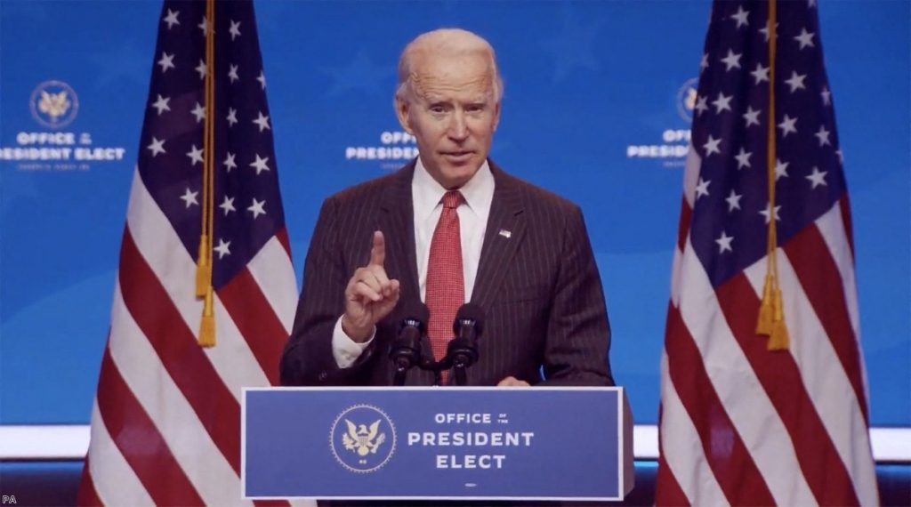 President-elect Joe Biden makes remarks following his virtual meeting with the National Governors Association's Executive Committee in Wilmington last week.