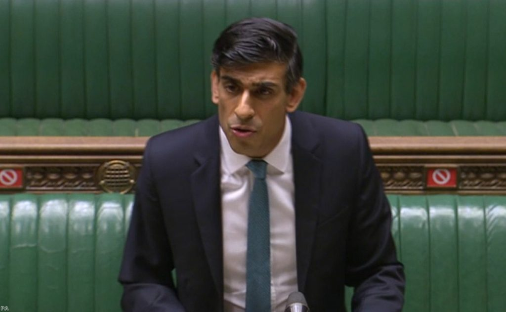 Chancellor Rishi Sunak delivering his spending review in the House of Commons this afternoon.
